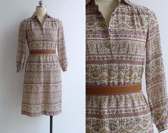 Vintage 70's Pink Paisley Floral Striped Collared Shirt Dress XXS or XS