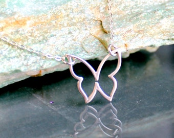 Sterling Silver Jewelry Necklace -Single Butterfly - Matte Silver- Free U.S Shipping-