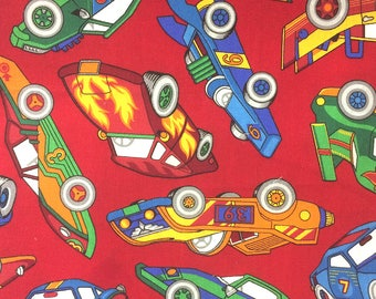 """Race Cars on Red - Cotton fabric - 22""""x44"""" REMNANT"""