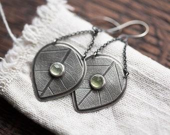 Dew-dappled Leaf Earrings ( green prehnite gemstones. antique sterling silver dangle earrings. leaf print. nature jewelry )