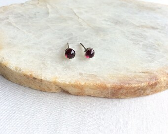 Garnet Stud Earrings 4mm Bezel Set, Sterling Silver Garnet Earrings,  January Birthstone Earrings , Garnet Earrings, Garnet Jewelry, GSBE1