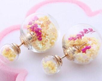 Kit earrings double glass balls 14 / 18mm