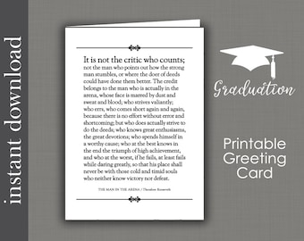 The Man In The Arena, printable card, card for him, Graduation Printable, graduation card, coworker card, inspirational card, card for boss