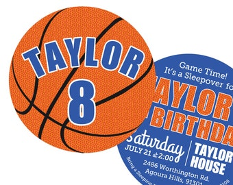 Basketball Invitations Birthday Party  -- 2 Sided