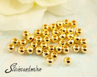 25x Beads 3mm Gold plated art. 1705