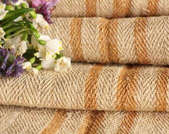 R 64 antique hemp linen CARAMELL upholstery 5.24 yards handloomed STAIRUNNER benchcushion Beachhouse look