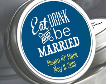 12 Eat Drink and Be Married Wedding Favors - Mint To Be - Wedding Decor - Bridal Shower Favors - Wedding Mint Tins - Kosher - Wedding Mints