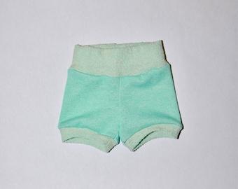 Mint Green baby shorties, summer shorts, baby shorties, beach shorts, boy shorts, girl shorties, girl shorts, baby girl shorties, short