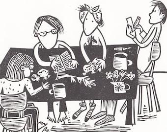 Everyone at the table - lino print, handmade, illustration, humour, family, children, art, printmaking, home interiors, black and white,