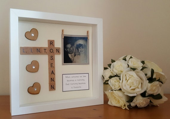Memory Frame, Personalised Scrabble style memory box frames ...