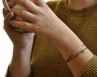 Bracelet double - Perles Unakite et métal argenté