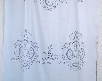 Beige handmade cutwork curtain with embroidery - Greek Traditional Handiwork - 0000803