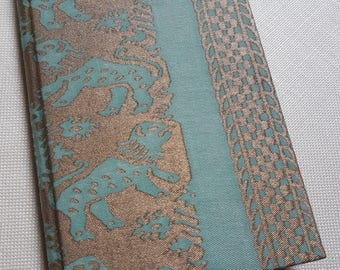 Fortuny Fabric Covered Journal Hardcover Notebook Aquamarine & Silvery Gold Richelieu Pattern - Handcraft in Italy