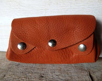 Wallet, card holder accordion items leather camel, Tan, brown orange