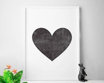 Heart decor print, black and white home decor, modern nursery print, love sign, love wall art, love art, letterpress print style