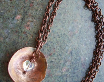 """Copper Necklace """"Hearts Aglow"""" Hand Hammered and Polished"""