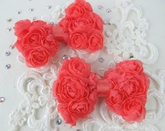 "2 CORAL Shabby Chiffon Rose Mesh Bows, 3inch Petite Mini size  3"", Headbands"