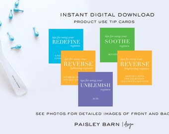 INSTANT DOWNLOAD Square Tip Cards | mini facial, Rodan+Fields, travel, business card, anti-aging, redefine  sample, skin