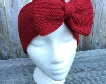 Holiday Headband, Red Bow, Knit Bow Headband, Bow Headband, Adult Headband, Knit Headband with Bow, Women's Gift