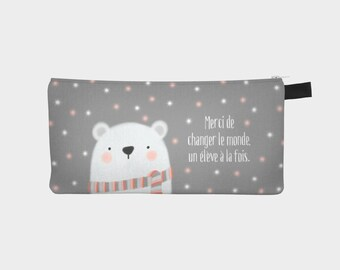 """Chest pencil - makeup pouch """"Bear"""" for a teacher and educator"""