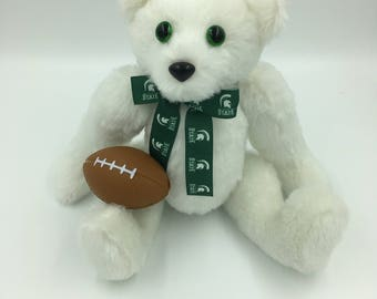 Teddy Bear, College, Pro, Sports bears, Soft, One of a Kind, Custom Made, Traditional, White, Fully jointed, Plush
