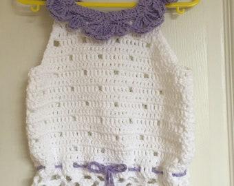 Baby girl crochet top, lacy crochet top, size 1-2