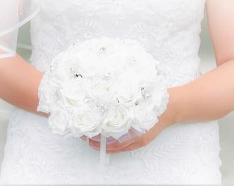 Sparkling Crystal Flower Bridal Bouquet
