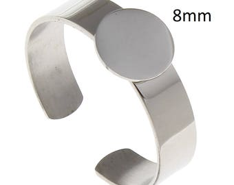 2 pieces Stainless steel 8mm Adjustable Ring Pad Cabochon Setting