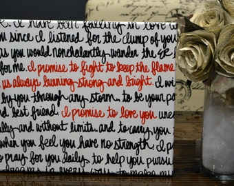 Custom Wedding Vow Art Canvas Wall Art Painting Black White & Red Wedding Gift Wedding Decoration Home Decor First Dance Song Lyric Painting