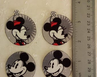Vintage Minnie and Mickey Mouse 4 pc set Iron On Fabric Appliques No Sew