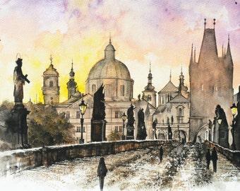 Sunrise at Charles Bridge, Prague Painting, Czech Republic, European City, Wall Art, Home Decor, Giclee Print