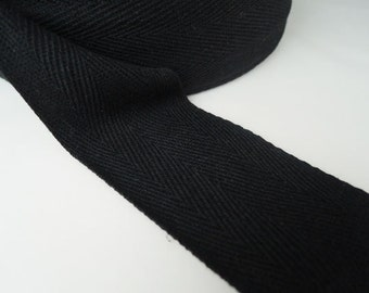"Black or White Cotton Twill Tape 2"" 1"" or 1/2"" - Herringbone Cotton Twill Tape ( 50mm 2 inch ) ( 25mm 1 inch ) ( 13mm 1/2 inch )"