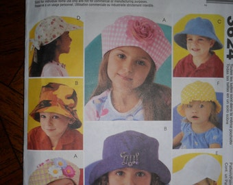 McCall's Fashion Accessories Pattern 3624 Make ADORABLE children's hats