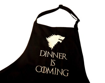 Embroiderd Kitchen apron Game of thrones inspired, house of stark, dinner is coming, wolves, winter is coming, gift for him, giftidea