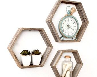 Rustic Hexagon Wood Shelves (Set of 3) | Honeycomb Shelves| Geometric Shelves| Wood Shelf- 100 Percent Reclaimed Wood, Weathered Gray