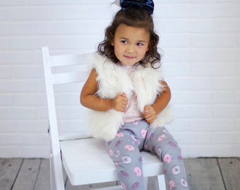 CLEARANCE - Donut Leggings - Girl Leggings - Pink & Gray