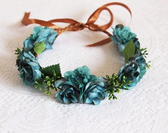 Teal Roses and  Larkspur Flower with green buds Flower Crown/Vintage,Bridal, Wedding Hair Accessory,Roses, Rustic,Bridesmaids