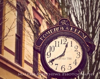 Vintage Street Time Clock City Photography, brown beige cosmopolitan wall art, city building, urban home decor - 8x8