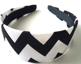 Black White Zig Zag Headband 2 Inch