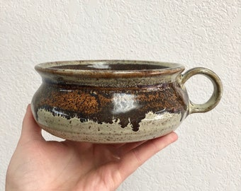 Unique Handcrafted Stoneware Bowl with Handle / Brown Speckled Wheel Thrown Clay Bowl / Handmade Glazed Pottery
