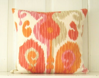 Colorful Pillow, Pink Orange Coral Pillow Cover, Braemore 'Journey' Fruity Fabric, Ikat Pillows, Throw Pillow, Sofa Pillow, Bedding Pillow