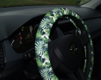 Steering wheel cover Tropical leaves Car accessories Floral Monstera leaves Tropical leaf Gift for her Seat belt cover Accessories set Cover