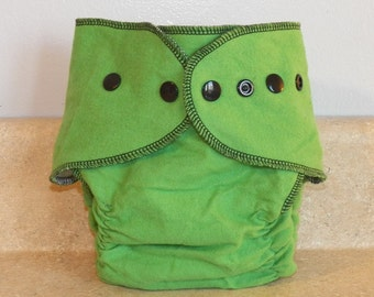Fitted Medium Cloth Diaper- 10 to 20 lbs- Green & Black- 18015