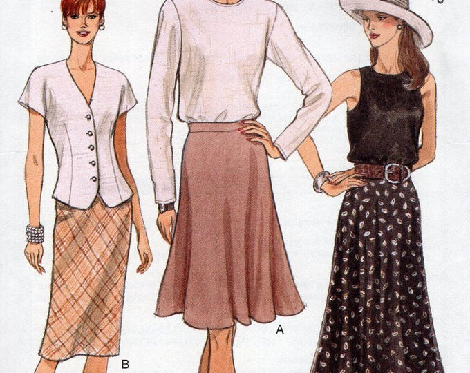Vogue 9175 Free Us Ship Sewing Pattern Retro 1990s 90's Flared Slim Classic Bias Skirt Size 6 8 10 Bust 30.5 31.5 32.5 Uncut