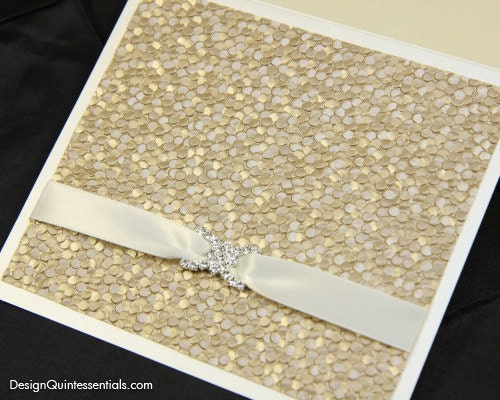 Embossed Card For Wedding Invitations: Champagne Embossed Pebble Wedding Invitation In Square Folded