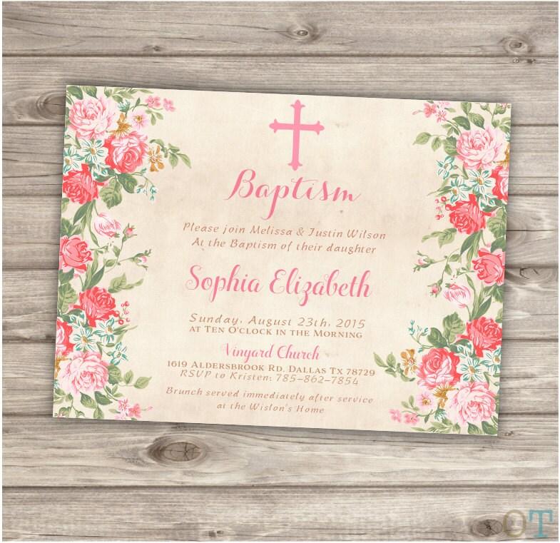 Baptism invitations floral cross pink girl simple modern zoom stopboris Choice Image