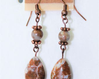 Brown Agate Earrings with antiqued copper plated beads and hangers