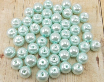 6mm Glass Pearls - Light Blue - 75 pieces