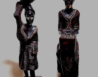 25% OFF SALE African Carved Wood Man Woman Figurines Vintage Drum