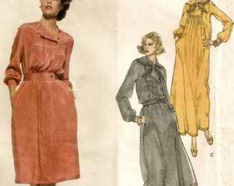 "A Pullover, Long Sleeve, Front Buttoned Inset, Below Knee or Evening Length Dress & Scarf Pattern for Women: Size 16, Bust 38"" • Vogue 1718"